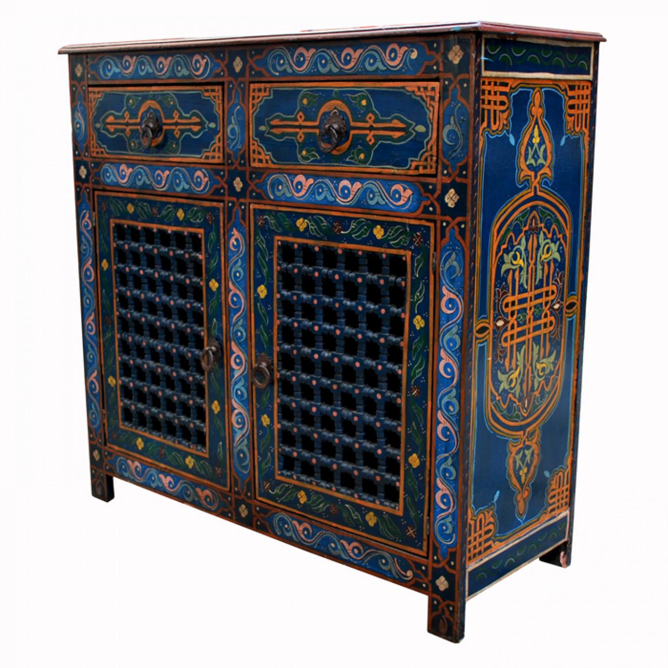 arabische kommode zwak handbemalt blau. Black Bedroom Furniture Sets. Home Design Ideas
