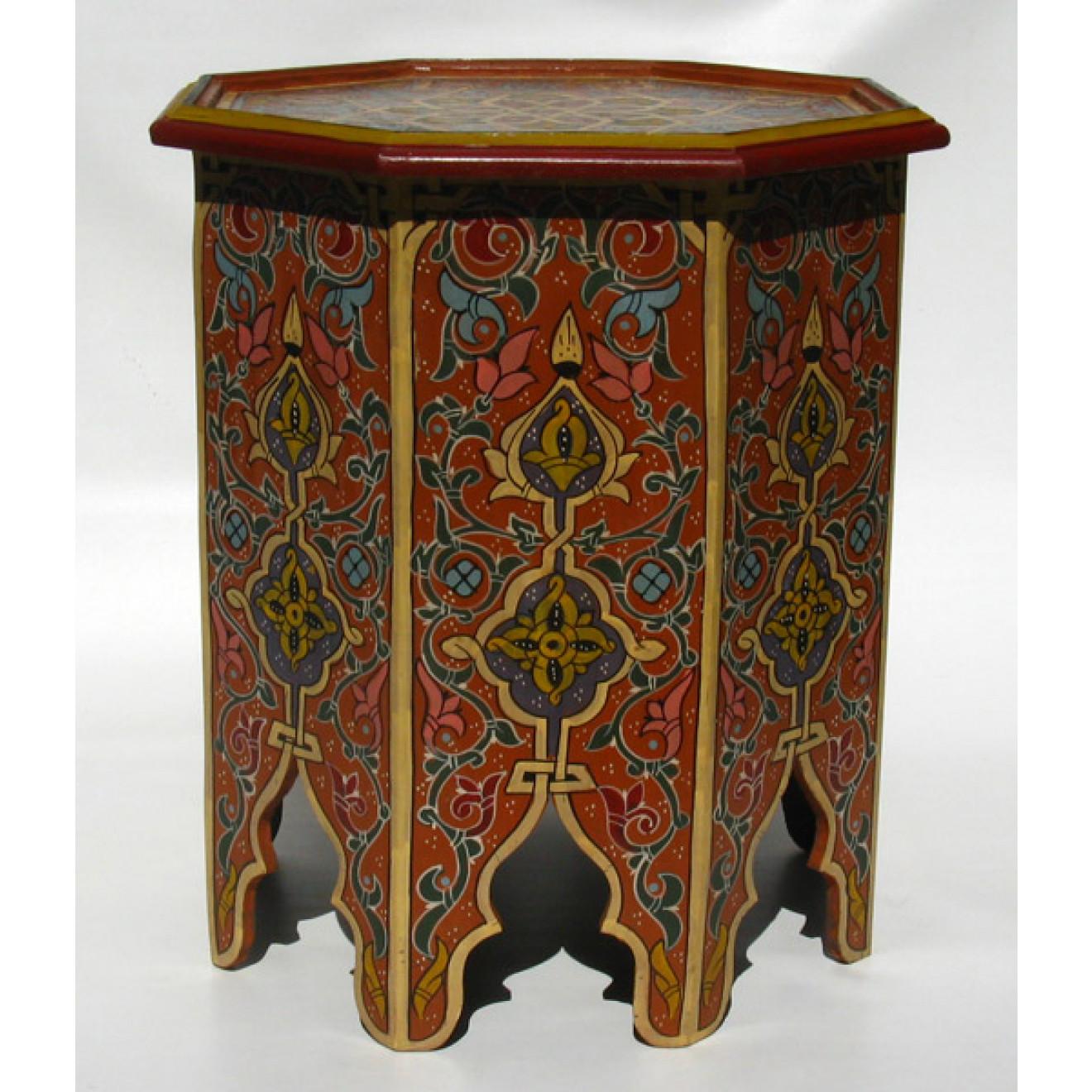 Orientalischer Teetisch Aus Holz Lahmar Handbemalen