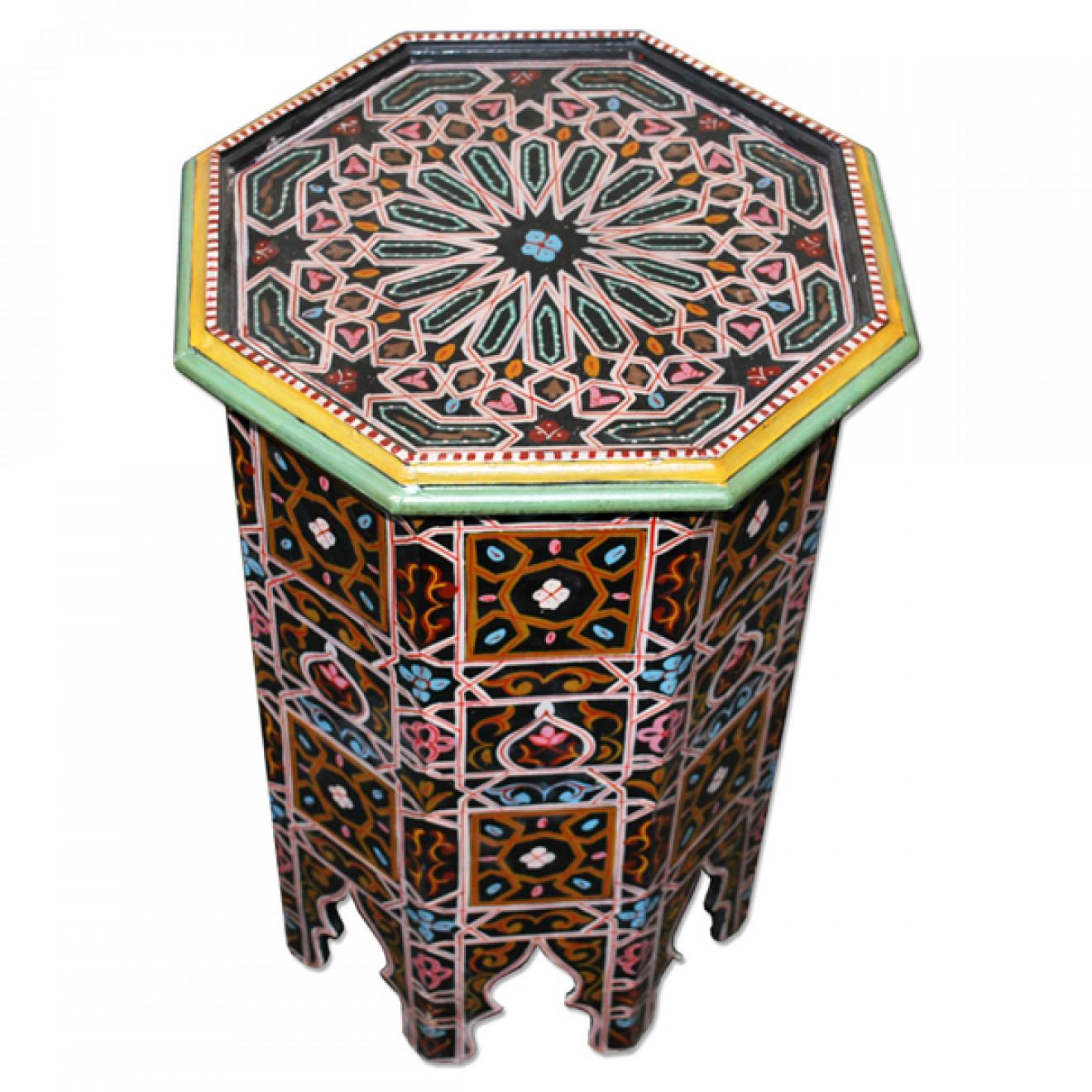 Orientalischer Teetisch Aus Holz Laswad Handbemalen