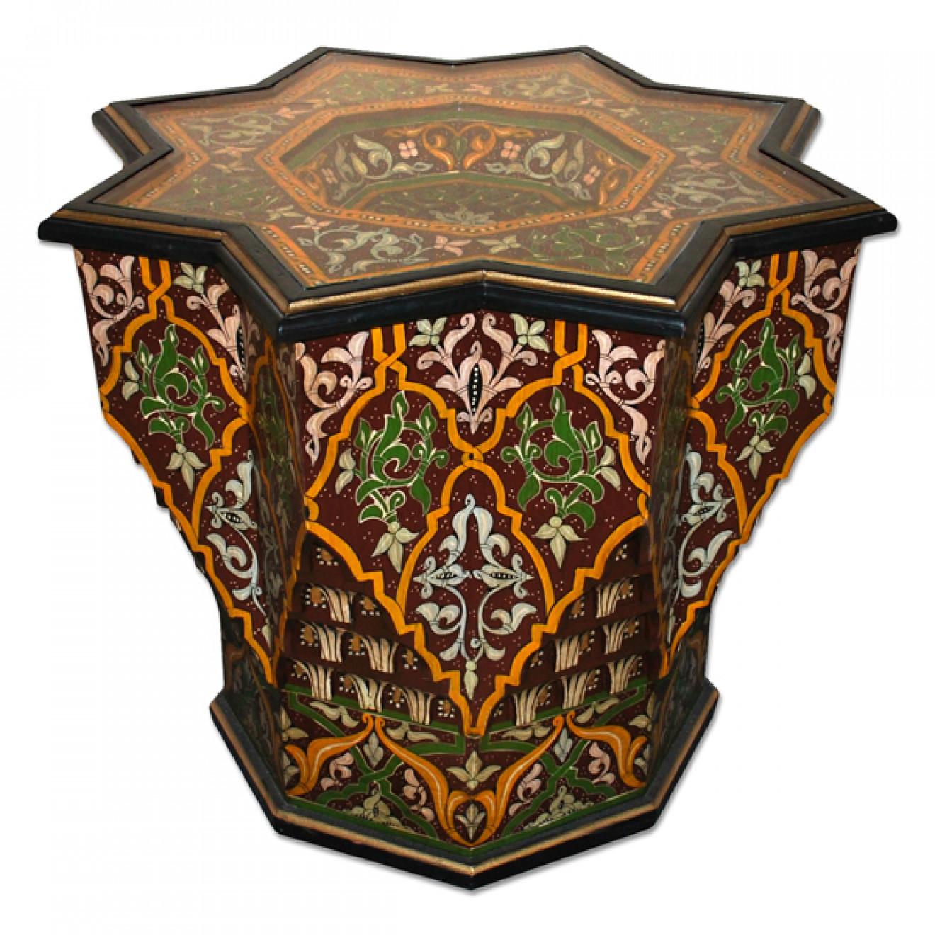 marokko tisch aus holz handbemalen nejma jefna. Black Bedroom Furniture Sets. Home Design Ideas