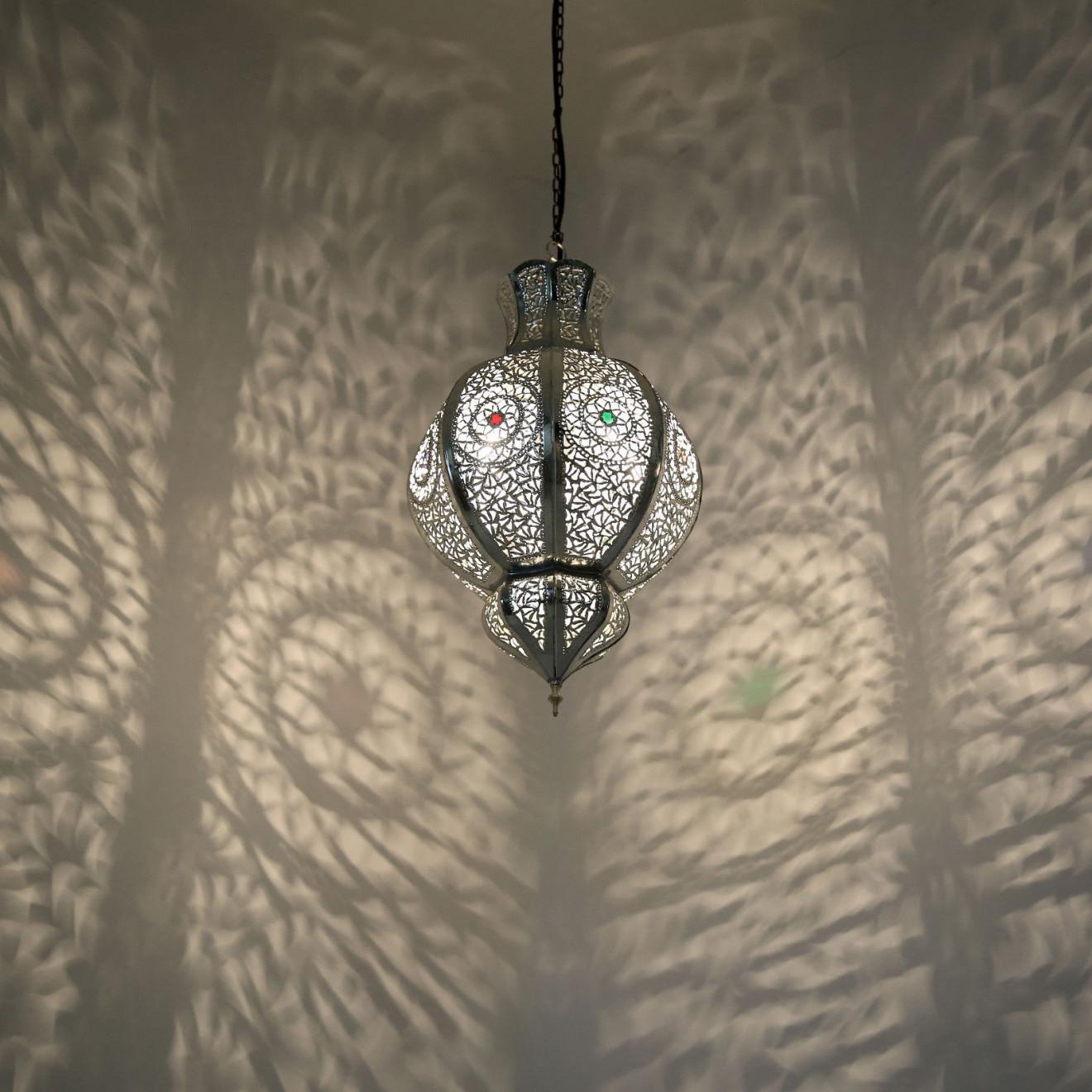 marokkanische arabische h ngelampe malika silber. Black Bedroom Furniture Sets. Home Design Ideas
