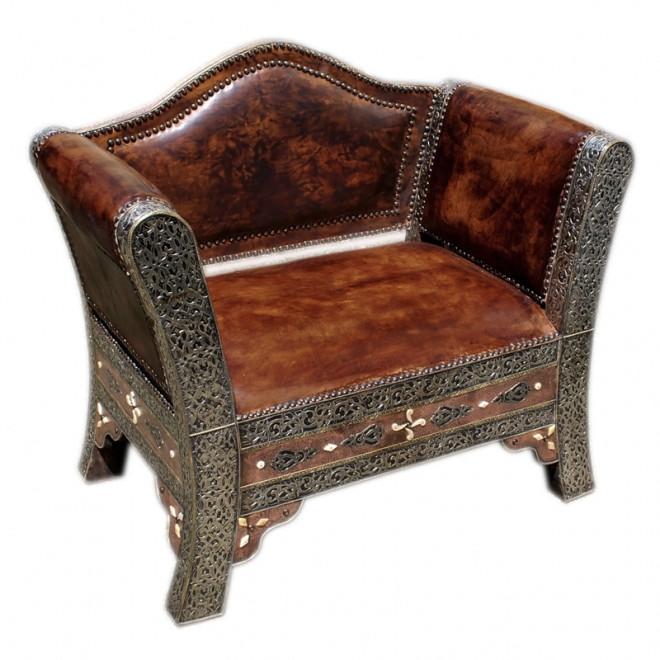 orientalischer sessel sultana versilbertes messing und echtleder. Black Bedroom Furniture Sets. Home Design Ideas