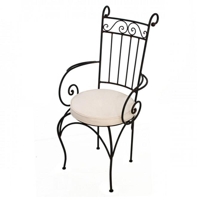 gartenstuhl aus eisen madina mit armlehne. Black Bedroom Furniture Sets. Home Design Ideas