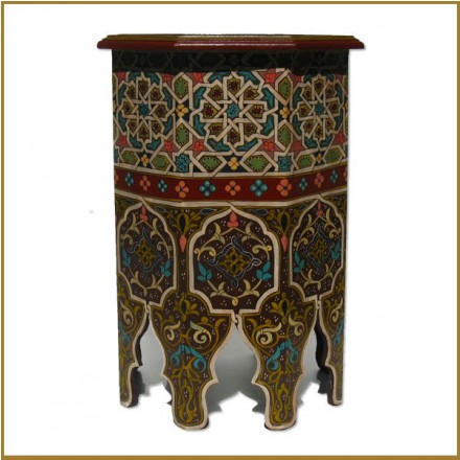 Orientalischer Teetisch Aus Holz Zwin Handbemalen