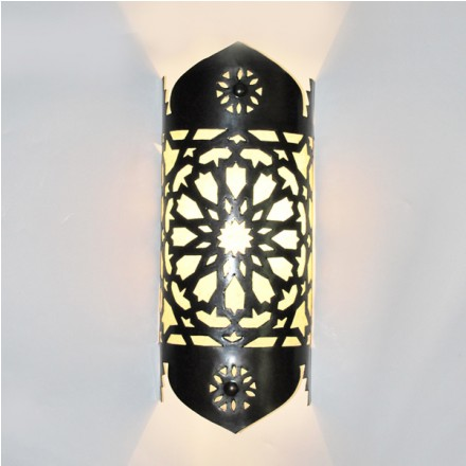 Wandlampe aus marokko tajia parchemain h40cm - Wandlampe mediterran ...