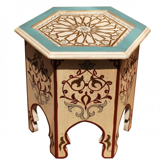 orientalischer teetisch aus holz crema handbemalen. Black Bedroom Furniture Sets. Home Design Ideas