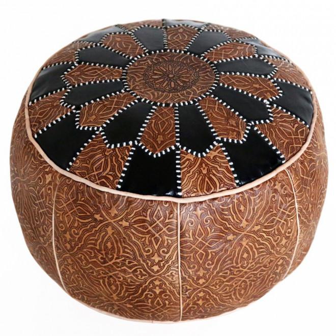 orientalisches ledersitzkissen aus marokko salam 2 schwarz. Black Bedroom Furniture Sets. Home Design Ideas
